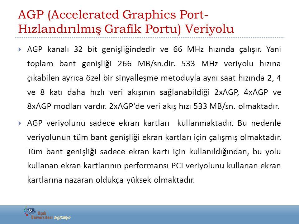 AGP (Accelerated Graphics Port- Hızlandırılmış Grafik Portu) Veriyolu  AGP kanalı 32 bit genişliğindedir ve 66 MHz hızında çalışır. Yani toplam bant