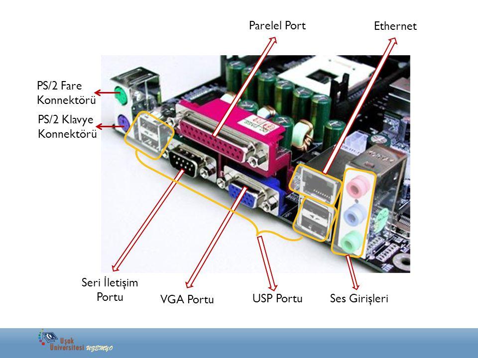 PS/2 Fare Konnektörü PS/2 Klavye Konnektörü Parelel Port VGA Portu Seri İ letişim Portu USP Portu Ethernet Ses Girişleri
