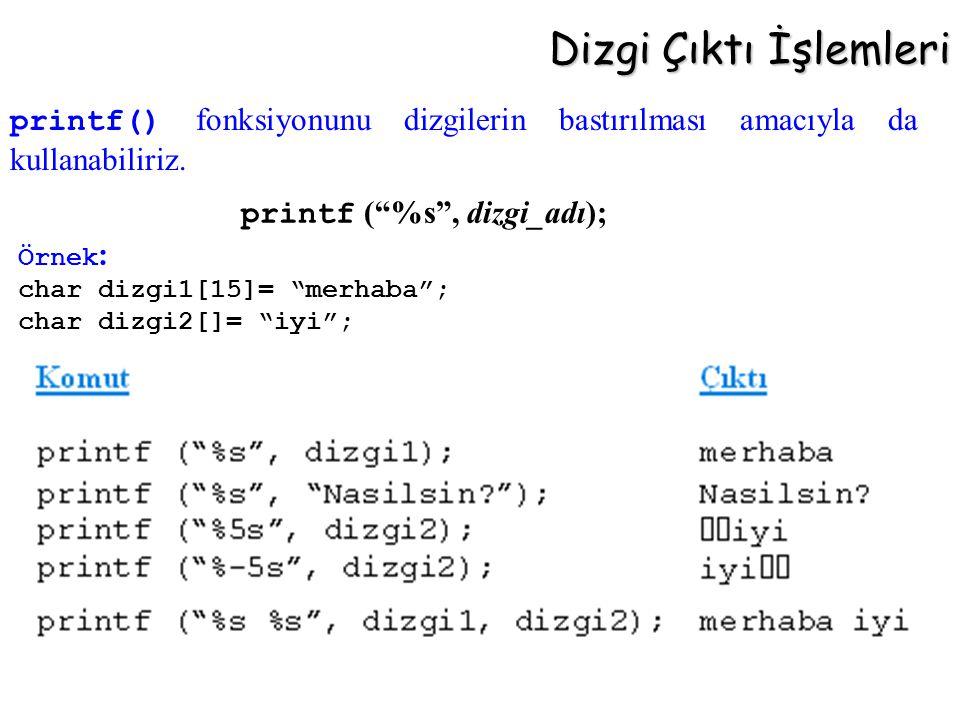 """Dizgi Çıktı İşlemleri printf (""""%s"""", dizgi_adı); Örnek : char dizgi1[15]= """"merhaba""""; char dizgi2[]= """"iyi""""; printf() fonksiyonunu dizgilerin bastırılmas"""