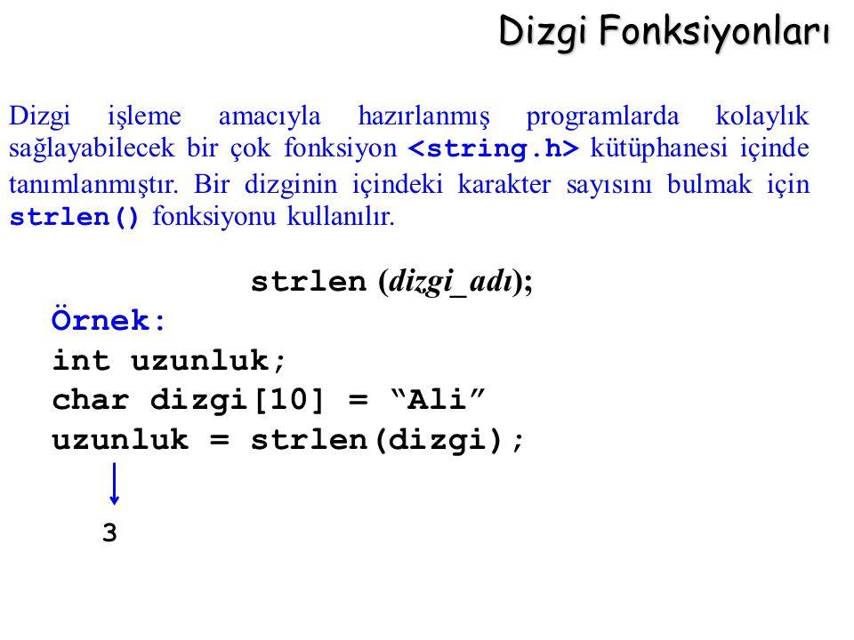 """Dizgi Fonksiyonları strlen (dizgi_adı); Örnek: int uzunluk; char dizgi[10] = """"Ali"""" uzunluk = strlen(dizgi); Dizgi işleme amacıyla hazırlanmış programl"""