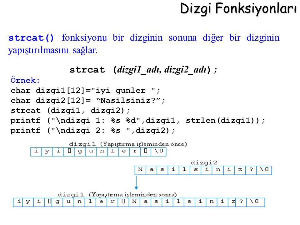 Dizgi Fonksiyonları strcat ( dizgi1_adı, dizgi2_adı ); Örnek: char dizgi1[12]=