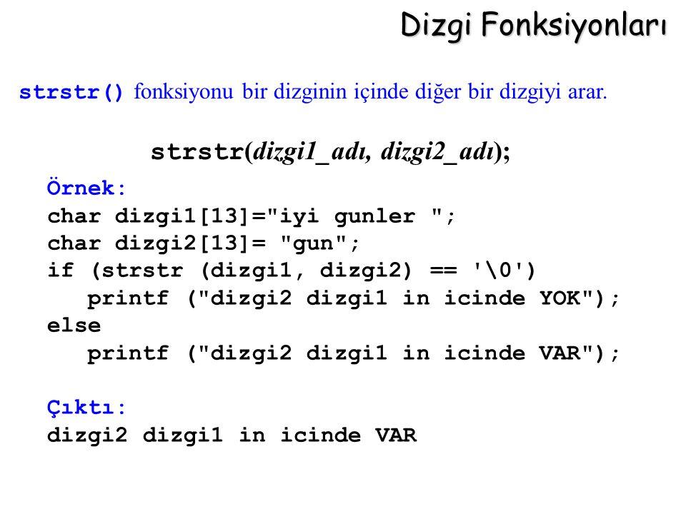 Dizgi Fonksiyonları strstr (dizgi1_adı, dizgi2_adı); Örnek: char dizgi1[13]=