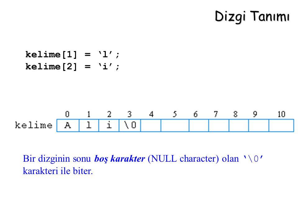 Dizgi Tanımı kelime[1] = 'l'; kelime[2] = 'i'; Bir dizginin sonu boş karakter (NULL character) olan '\0' karakteri ile biter.