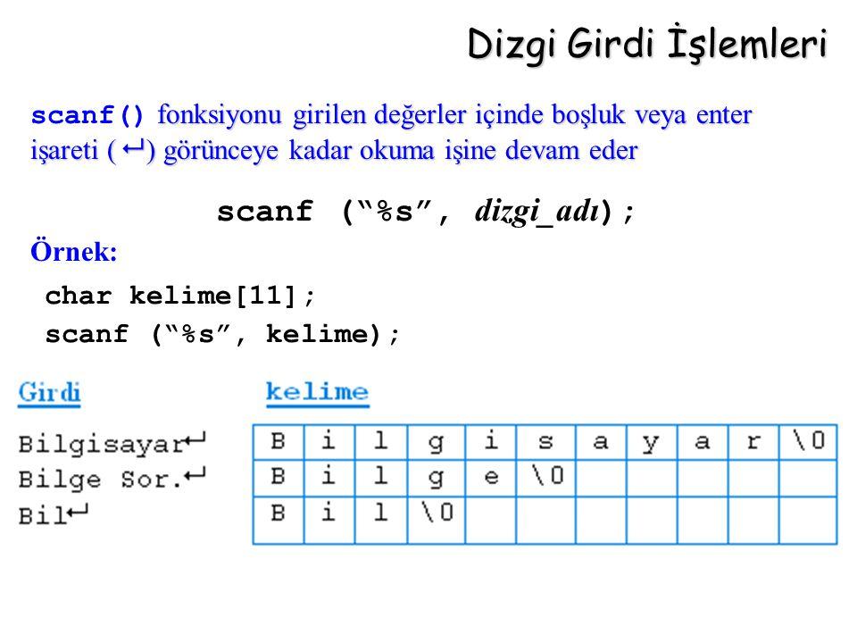 """Dizgi Girdi İşlemleri scanf (""""%s"""", dizgi_adı ); char kelime[11]; scanf (""""%s"""", kelime); fonksiyonu girilen değerler içinde boşluk veya enter işareti ("""