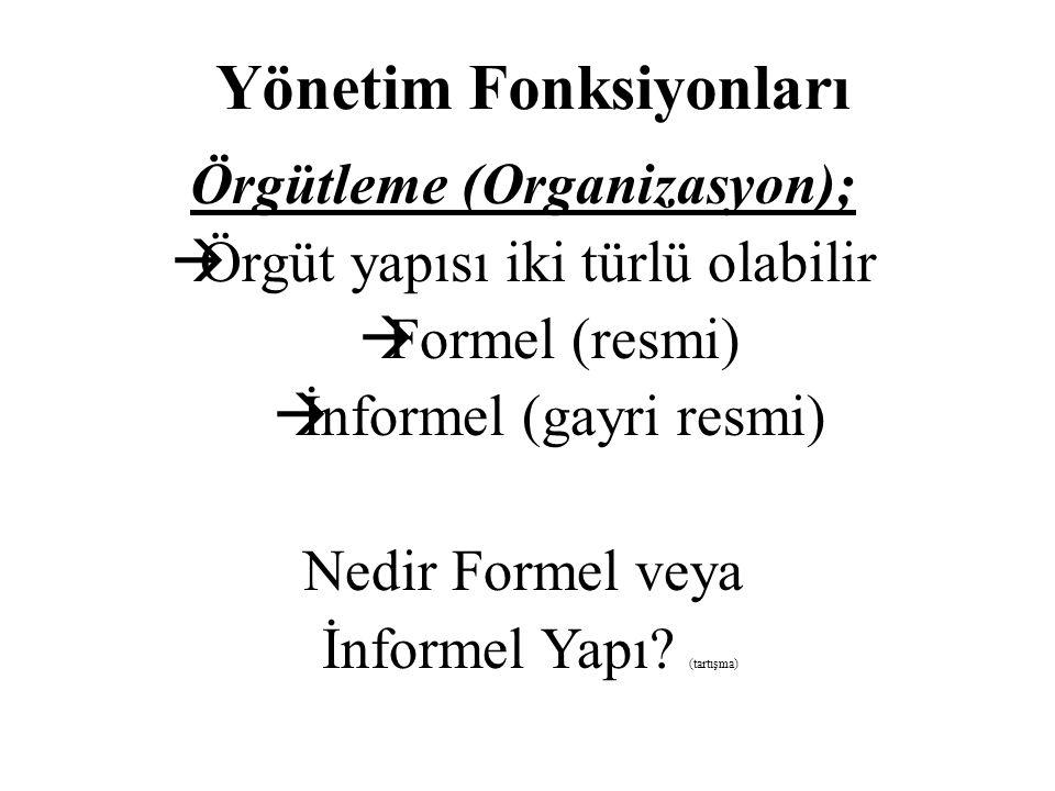 Yönetim Fonksiyonları Örgütleme (Organizasyon);  Örgüt yapısı iki türlü olabilir  Formel (resmi)  İnformel (gayri resmi) Nedir Formel veya İnformel Yapı.