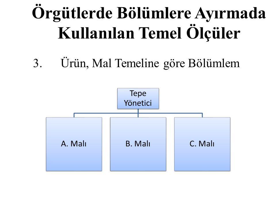 Örgütlerde Bölümlere Ayırmada Kullanılan Temel Ölçüler 3.Ürün, Mal Temeline göre Bölümlem Tepe Yönetici A.