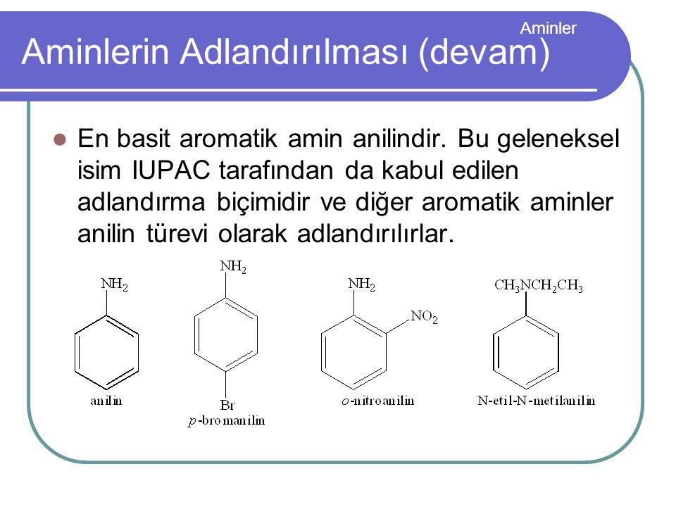 Aminler Aminlerin Adlandırılması (devam) En basit aromatik amin anilindir. Bu geleneksel isim IUPAC tarafından da kabul edilen adlandırma biçimidir ve