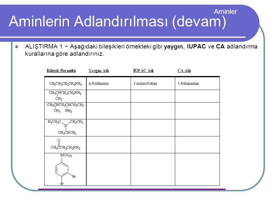 Aminler Aminlerin Adlandırılması (devam) ALIŞTIRMA 1 − Aşağıdaki bileşikleri örnekteki gibi yaygın, IUPAC ve CA adlandırma kurallarına göre adlandırın