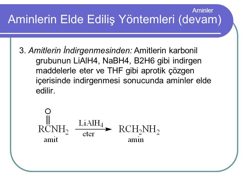 Aminler Aminlerin Elde Ediliş Yöntemleri (devam) 3. Amitlerin İndirgenmesinden: Amitlerin karbonil grubunun LiAlH4, NaBH4, B2H6 gibi indirgen maddeler