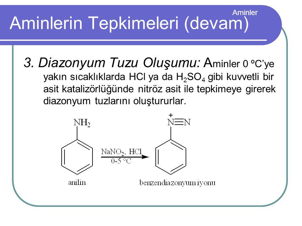 Aminler 3. Diazonyum Tuzu Oluşumu: A minler 0 ºC'ye yakın sıcaklıklarda HCl ya da H 2 SO 4 gibi kuvvetli bir asit katalizörlüğünde nitröz asit ile tep