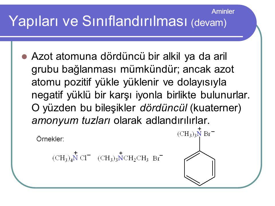 Aminler Yapıları ve Sınıflandırılması (devam) Azot atomuna dördüncü bir alkil ya da aril grubu bağlanması mümkündür; ancak azot atomu pozitif yükle yü