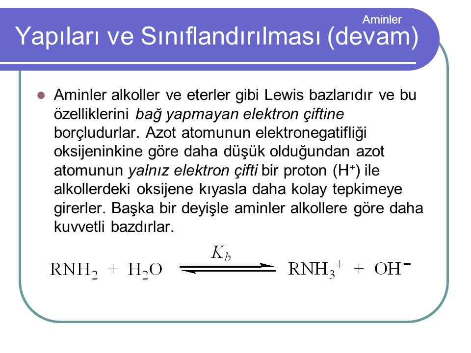 Aminler Aminler alkoller ve eterler gibi Lewis bazlarıdır ve bu özelliklerini bağ yapmayan elektron çiftine borçludurlar. Azot atomunun elektronegatif