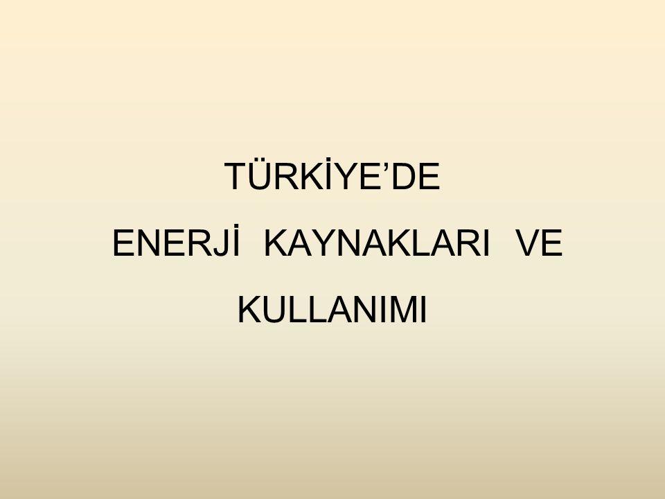 TÜRKİYE'DE ENERJİ KAYNAKLARI VE KULLANIMI