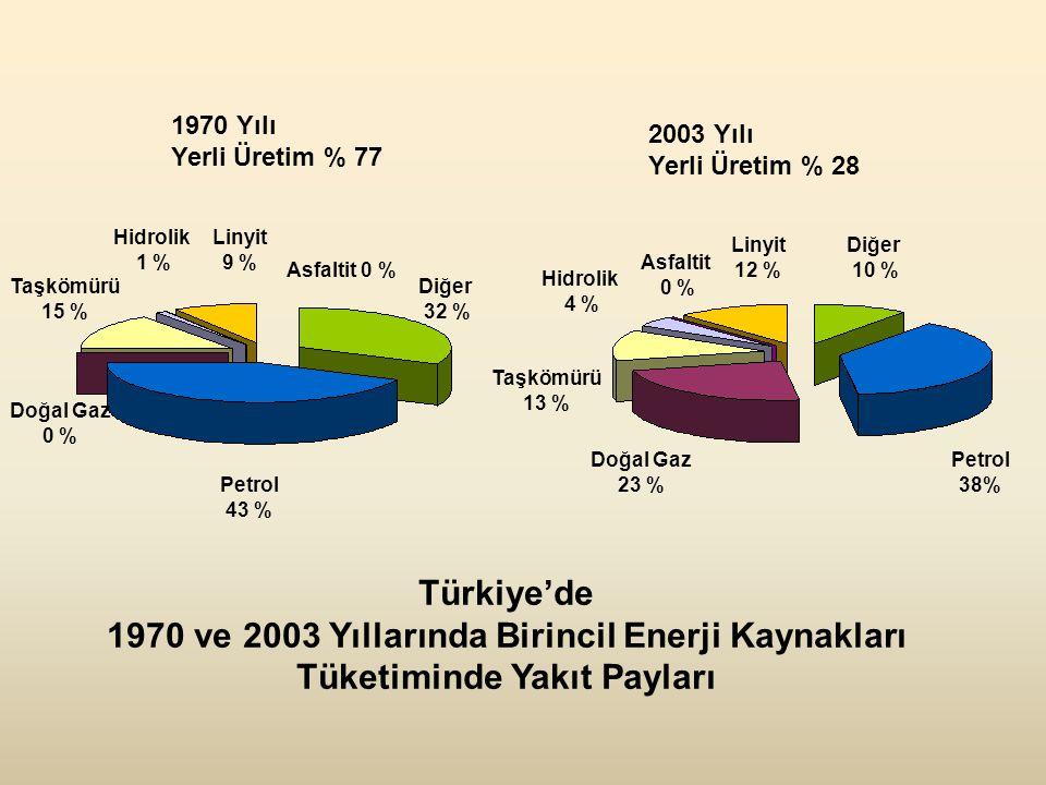 Taşkömürü 15 % Petrol 43 % Diğer 32 % Diğer 10 % Linyit 9 % Hidrolik 1 % Petrol 38% Doğal Gaz 23 % Asfaltit 0 % Linyit 12 % Hidrolik 4 % Türkiye'de 1970 ve 2003 Yıllarında Birincil Enerji Kaynakları Tüketiminde Yakıt Payları 1970 Yılı Yerli Üretim % 77 2003 Yılı Yerli Üretim % 28 Doğal Gaz 0 % Taşkömürü 13 % Asfaltit 0 %