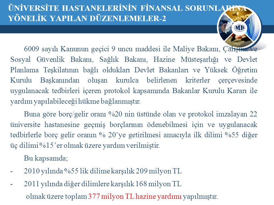 ÜNİVERSİTE HASTANELERİNİN FİNANSAL SORUNLARINA YÖNELİK YAPILAN DÜZENLEMELER-2 6009 sayılı Kanunun geçici 9 uncu maddesi ile Maliye Bakanı, Çalışma ve