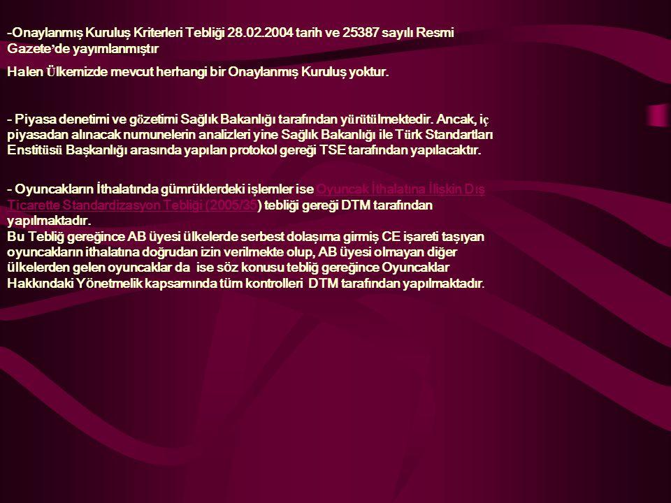 -Onaylanmış Kuruluş Kriterleri Tebliği 28.02.2004 tarih ve 25387 sayılı Resmi Gazete ' de yayımlanmıştır Halen Ü lkemizde mevcut herhangi bir Onaylanm