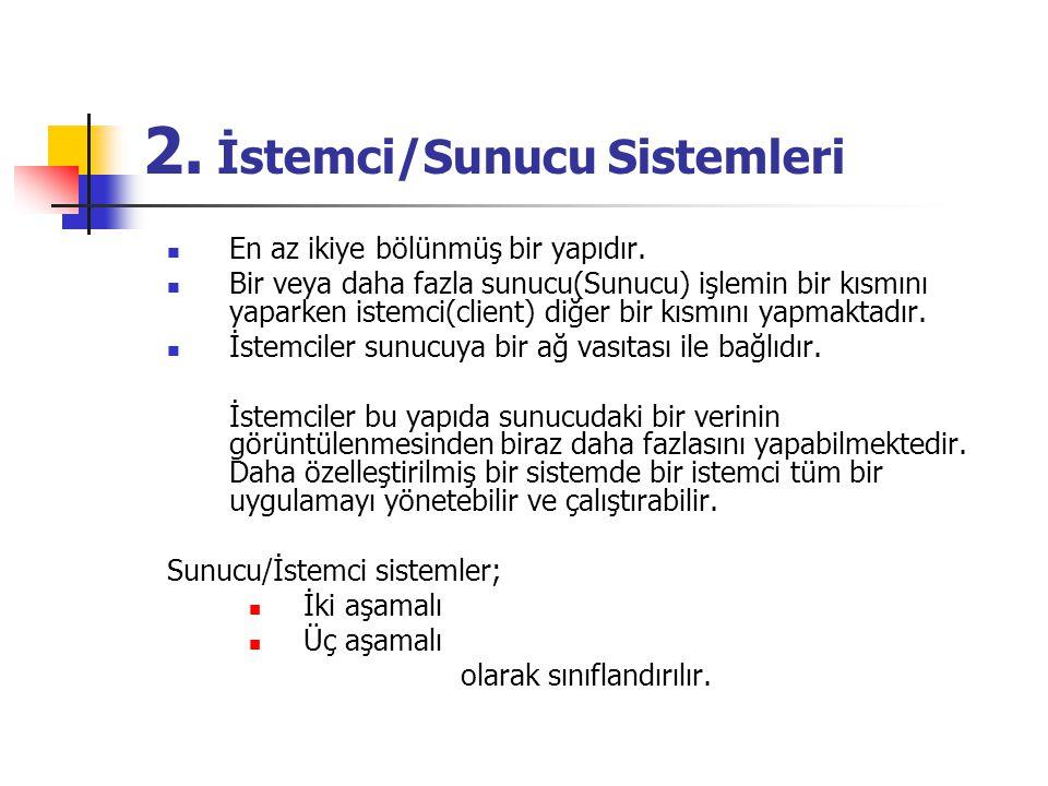 2. İstemci/Sunucu Sistemleri En az ikiye bölünmüş bir yapıdır. Bir veya daha fazla sunucu(Sunucu) işlemin bir kısmını yaparken istemci(client) diğer b