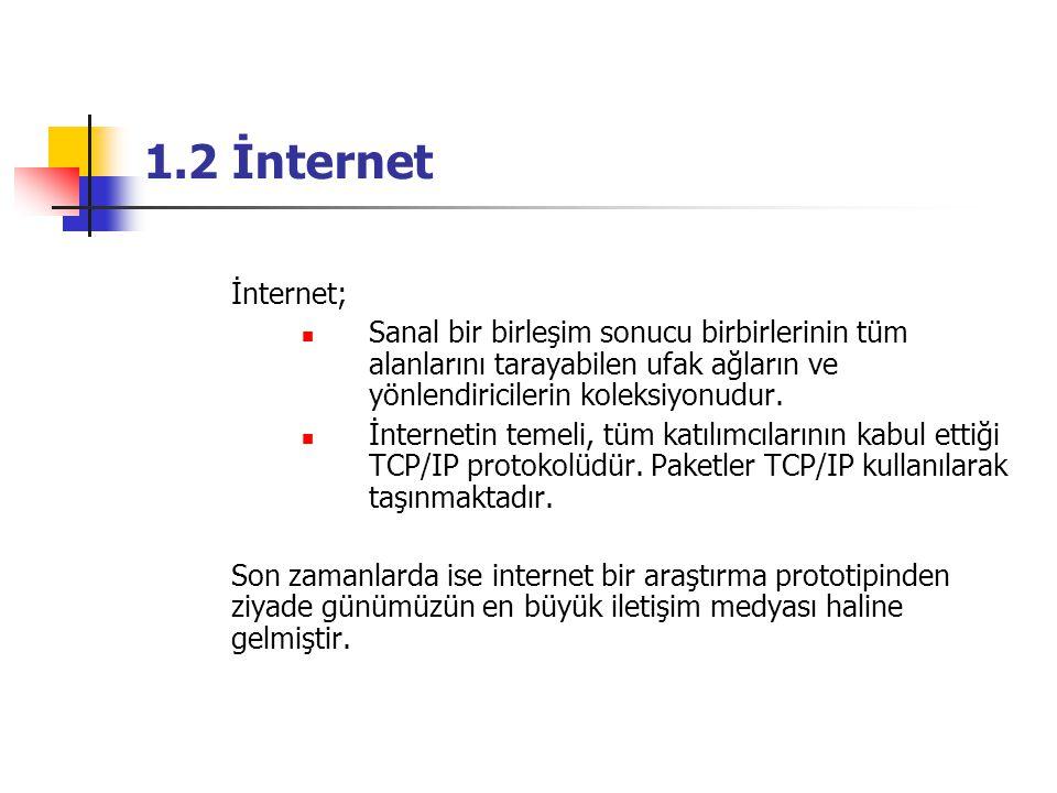 1.2 İnternet İnternet; Sanal bir birleşim sonucu birbirlerinin tüm alanlarını tarayabilen ufak ağların ve yönlendiricilerin koleksiyonudur. İnternetin