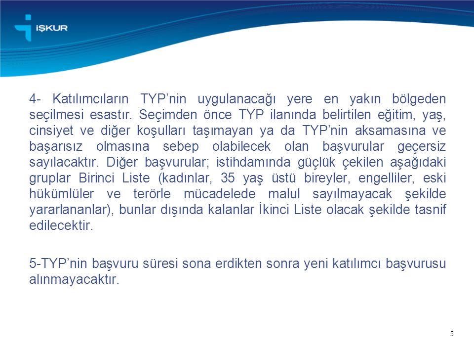 5 4- Katılımcıların TYP'nin uygulanacağı yere en yakın bölgeden seçilmesi esastır. Seçimden önce TYP ilanında belirtilen eğitim, yaş, cinsiyet ve diğe