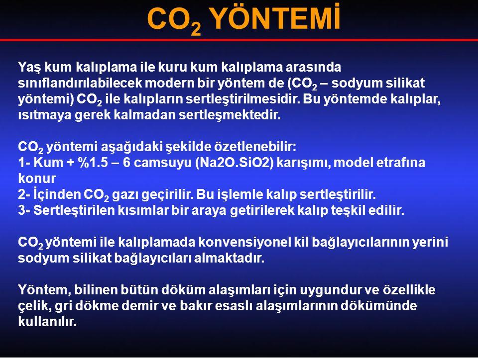 CO 2 YÖNTEMİ Yaş kum kalıplama ile kuru kum kalıplama arasında sınıflandırılabilecek modern bir yöntem de (CO 2 – sodyum silikat yöntemi) CO 2 ile kalıpların sertleştirilmesidir.