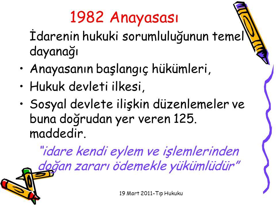 1982 Anayasası İdarenin hukuki sorumluluğunun temel dayanağı Anayasanın başlangıç hükümleri, Hukuk devleti ilkesi, Sosyal devlete ilişkin düzenlemeler