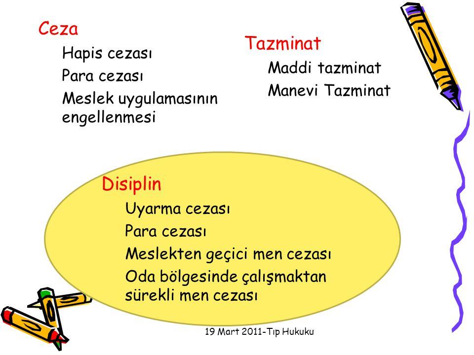 Ceza Hapis cezası Para cezası Meslek uygulamasının engellenmesi Tazminat Maddi tazminat Manevi Tazminat 19 Mart 2011-Tıp Hukuku Disiplin Uyarma cezası