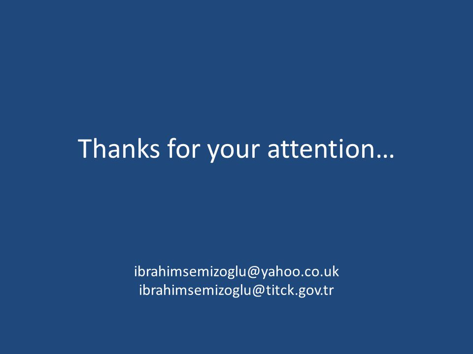 Thanks for your attention… ibrahimsemizoglu@yahoo.co.uk ibrahimsemizoglu@titck.gov.tr