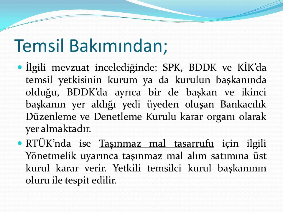 Temsil Bakımından; İlgili mevzuat incelediğinde; SPK, BDDK ve KİK'da temsil yetkisinin kurum ya da kurulun başkanında olduğu, BDDK'da ayrıca bir de ba