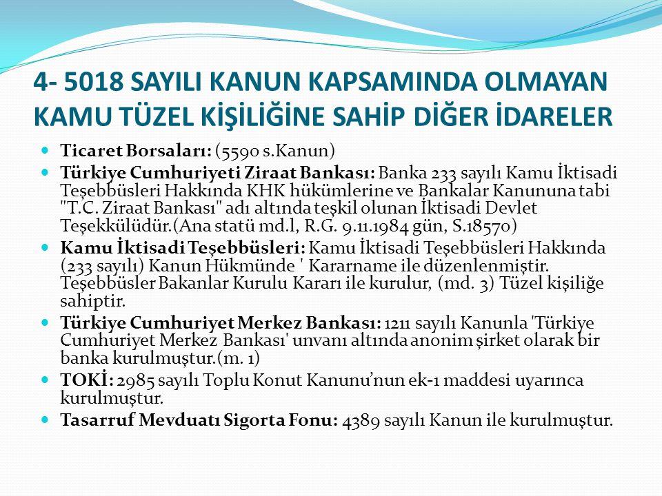 4- 5018 SAYILI KANUN KAPSAMINDA OLMAYAN KAMU TÜZEL KİŞİLİĞİNE SAHİP DİĞER İDARELER Ticaret Borsaları: (5590 s.Kanun) Türkiye Cumhuriyeti Ziraat Bankas