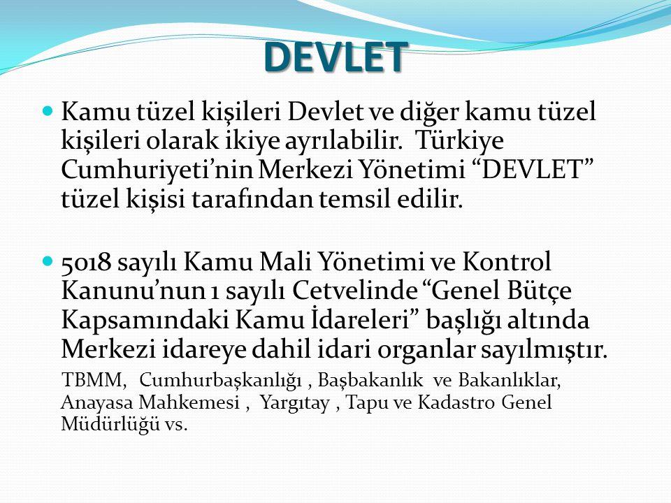 """DEVLET Kamu tüzel kişileri Devlet ve diğer kamu tüzel kişileri olarak ikiye ayrılabilir. Türkiye Cumhuriyeti'nin Merkezi Yönetimi """"DEVLET"""" tüzel kişis"""