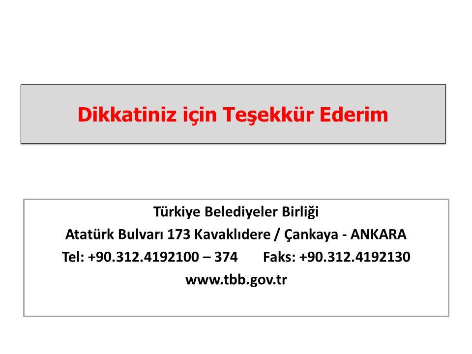 Dikkatiniz için Teşekkür Ederim Türkiye Belediyeler Birliği Atatürk Bulvarı 173 Kavaklıdere / Çankaya - ANKARA Tel: +90.312.4192100 – 374 Faks: +90.312.4192130 www.tbb.gov.tr