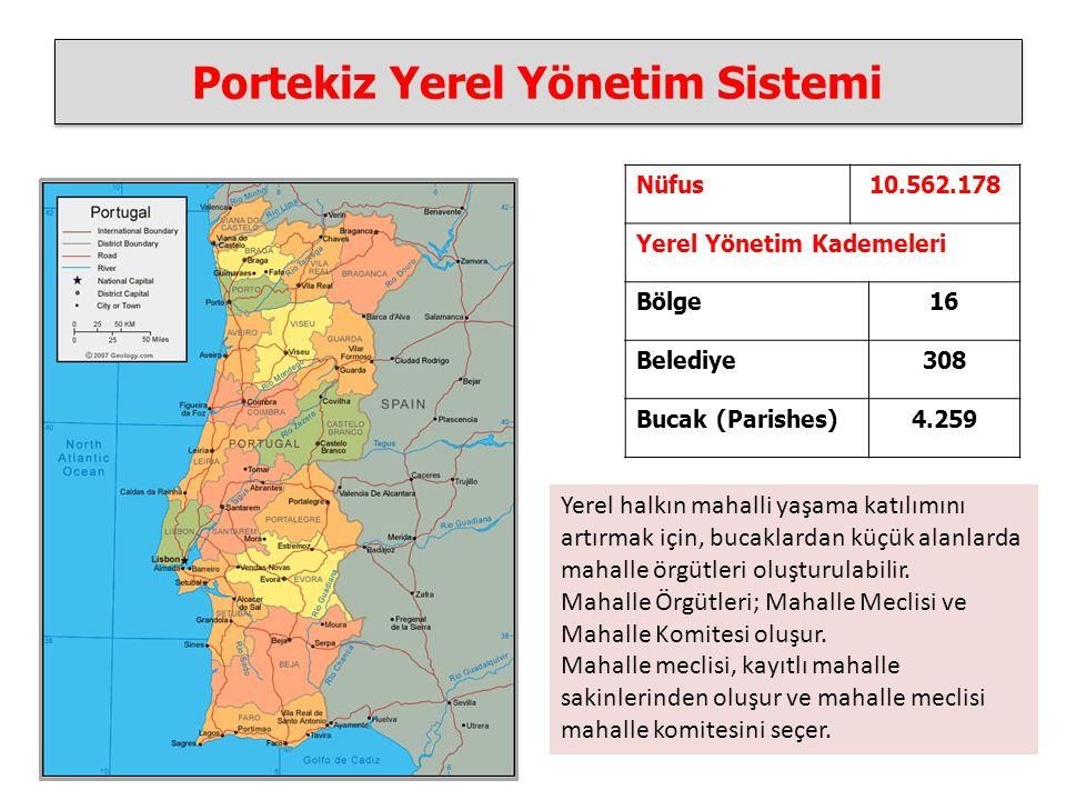 Portekiz Yerel Yönetim Sistemi Nüfus10.562.178 Yerel Yönetim Kademeleri Bölge16 Belediye308 Bucak (Parishes)4.259 Yerel halkın mahalli yaşama katılımını artırmak için, bucaklardan küçük alanlarda mahalle örgütleri oluşturulabilir.