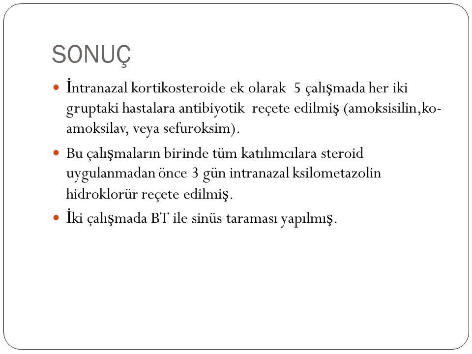 SONUÇ İ ntranazal kortikosteroide ek olarak 5 çalı ş mada her iki gruptaki hastalara antibiyotik reçete edilmi ş (amoksisilin,ko- amoksilav, veya sefuroksim).