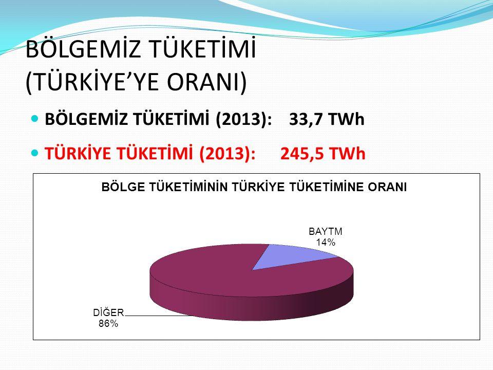 BÖLGEMİZ TÜKETİMİ (TÜRKİYE'YE ORANI) BÖLGEMİZ TÜKETİMİ (2013): 33,7 TWh TÜRKİYE TÜKETİMİ (2013): 245,5 TWh