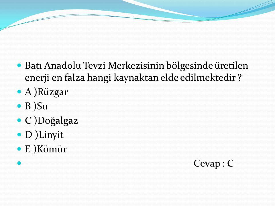 Batı Anadolu Tevzi Merkezisinin bölgesinde üretilen enerji en falza hangi kaynaktan elde edilmektedir ? A )Rüzgar B )Su C )Doğalgaz D )Linyit E )Kömür
