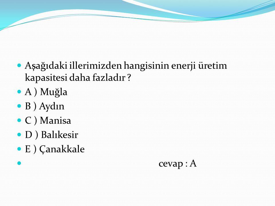 Aşağıdaki illerimizden hangisinin enerji üretim kapasitesi daha fazladır ? A ) Muğla B ) Aydın C ) Manisa D ) Balıkesir E ) Çanakkale cevap : A