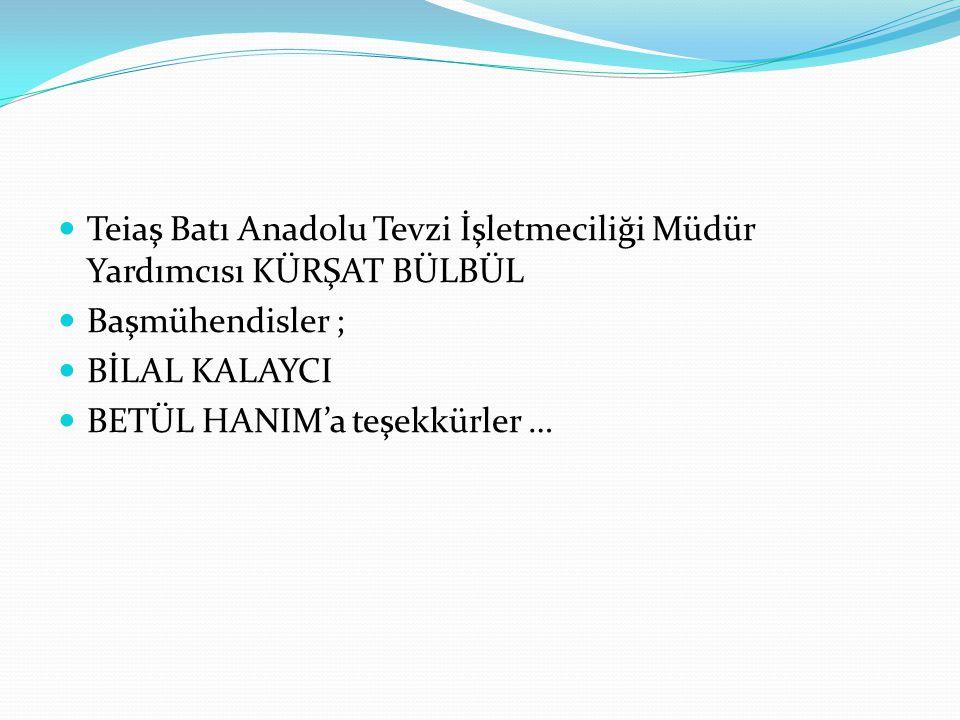 Teiaş Batı Anadolu Tevzi İşletmeciliği Müdür Yardımcısı KÜRŞAT BÜLBÜL Başmühendisler ; BİLAL KALAYCI BETÜL HANIM'a teşekkürler …