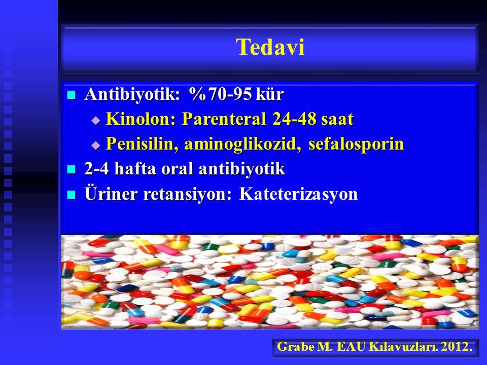 Antibiyotik: %70-95 kür Antibiyotik: %70-95 kür  Kinolon: Parenteral 24-48 saat  Penisilin, aminoglikozid, sefalosporin 2-4 hafta oral antibiyotik 2-4 hafta oral antibiyotik Üriner retansiyon Üriner retansiyon: Kateterizasyon Tedavi Grabe M.