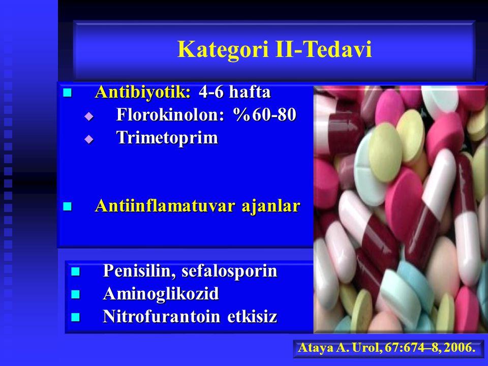 Antibiyotik: 4-6 hafta Antibiyotik: 4-6 hafta  Florokinolon: %60-80  Trimetoprim Antiinflamatuvar ajanlar Antiinflamatuvar ajanlar Kategori II-Tedavi Ataya A.