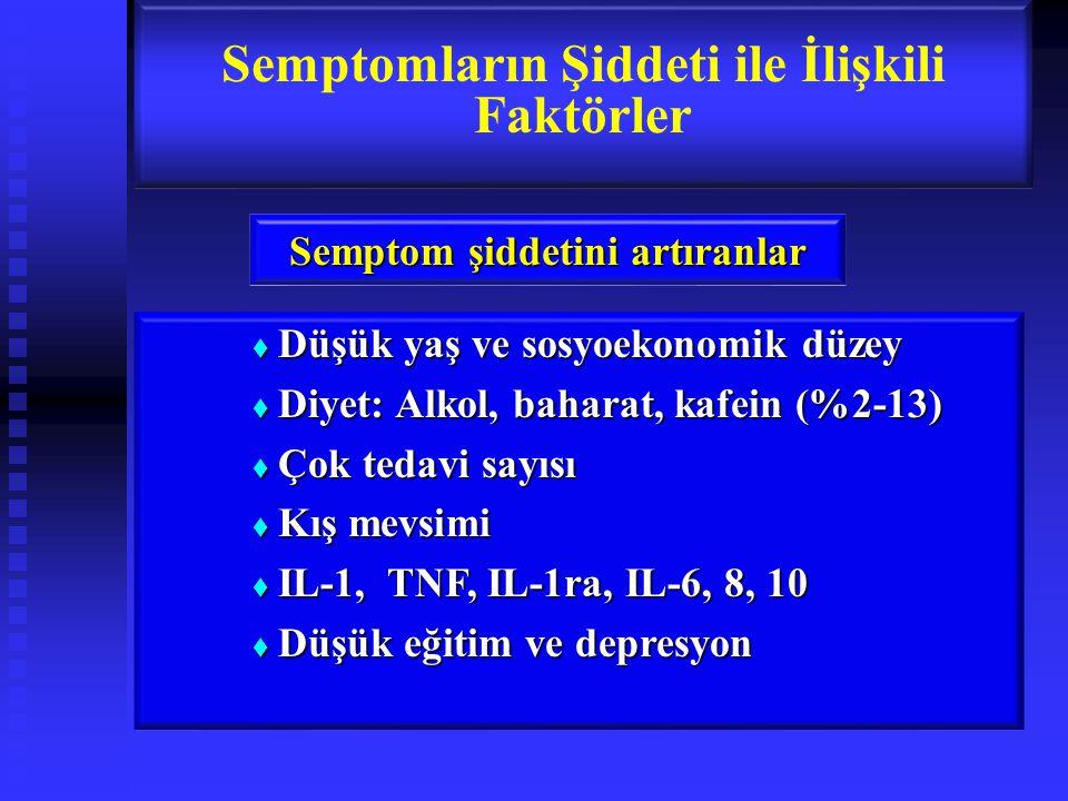  Düşük yaş ve sosyoekonomik düzey  Diyet: Alkol, baharat, kafein (%2-13)  Çok tedavi sayısı  Kış mevsimi  IL-1, TNF, IL-1ra, IL-6, 8, 10  Düşük eğitim ve depresyon Semptomların Şiddeti ile İlişkili Faktörler Semptom şiddetini artıranlar
