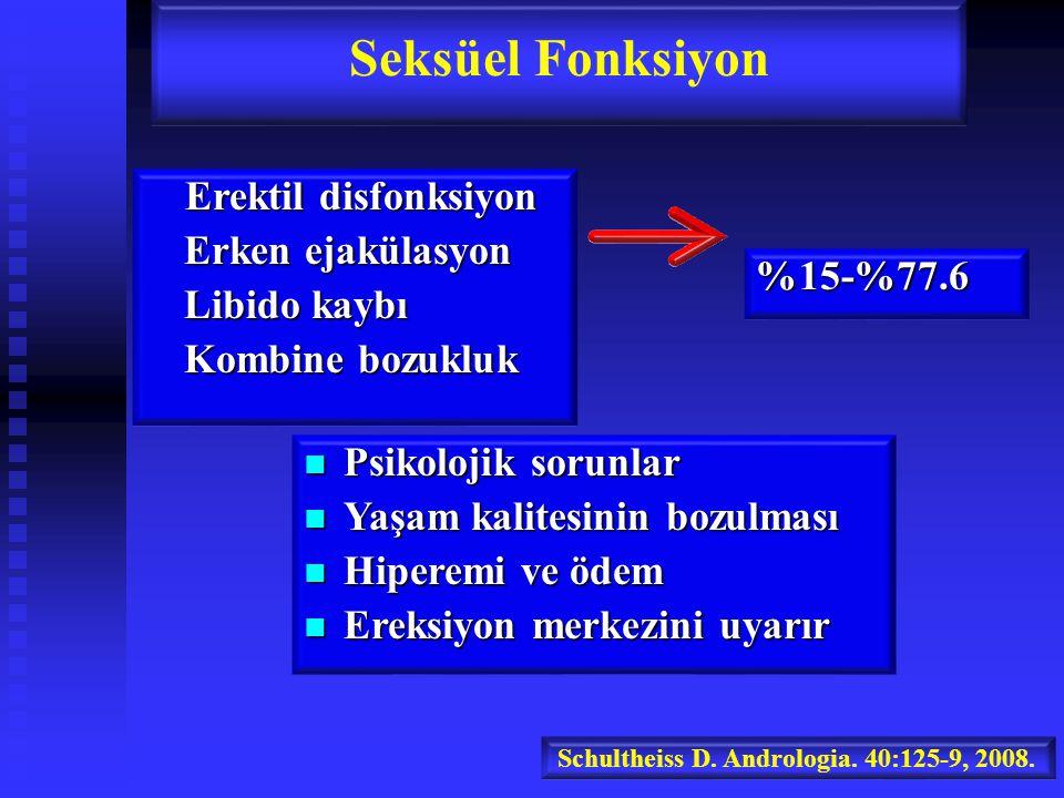 Erektil disfonksiyon Erektil disfonksiyon Erken ejakülasyon Libido kaybı Kombine bozukluk Seksüel Fonksiyon %15-%77.6 Schultheiss D.