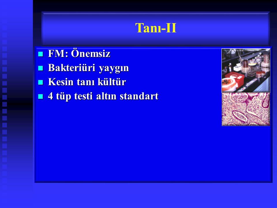 FM: Önemsiz FM: Önemsiz Bakteriüri yaygın Bakteriüri yaygın Kesin tanı kültür Kesin tanı kültür 4 tüp testi altın standart 4 tüp testi altın standart Tanı-II
