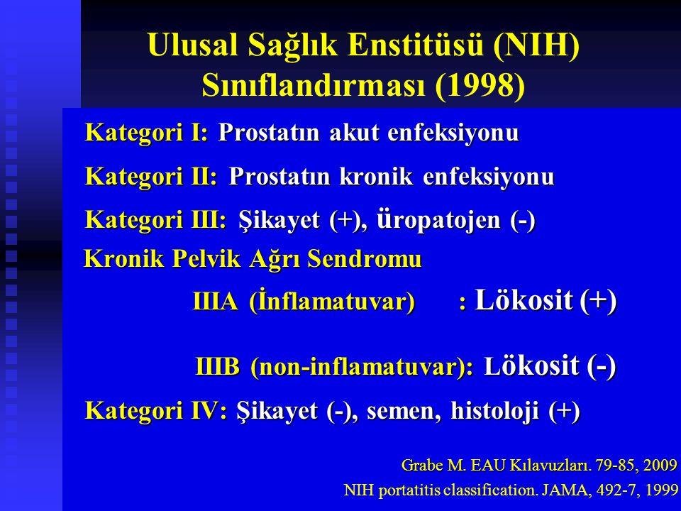 Ulusal Sağlık Enstitüsü (NIH) Sınıflandırması (1998) Kategori I: Prostatın akut enfeksiyonu Kategori I: Prostatın akut enfeksiyonu Kategori II: Prostatın kronik enfeksiyonu Kategori II: Prostatın kronik enfeksiyonu Kategori III: Şikayet (+), ü ropatojen (-) Kategori III: Şikayet (+), ü ropatojen (-) Kronik Pelvik Ağrı Sendromu Kronik Pelvik Ağrı Sendromu IIIA (İnflamatuvar) : Lökosit (+) IIIA (İnflamatuvar) : Lökosit (+) IIIB (non-inflamatuvar): L ökosit (-) IIIB (non-inflamatuvar): L ökosit (-) Kategori IV: Şikayet (-), semen, histoloji (+) Kategori IV: Şikayet (-), semen, histoloji (+) Grabe M.