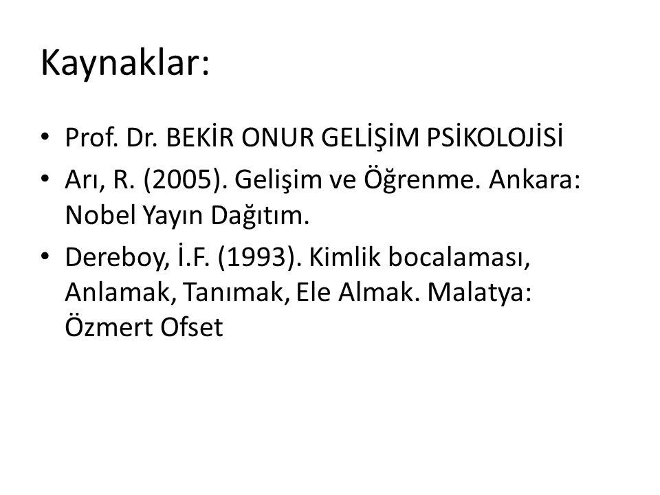 Kaynaklar: Prof. Dr. BEKİR ONUR GELİŞİM PSİKOLOJİSİ Arı, R. (2005). Gelişim ve Öğrenme. Ankara: Nobel Yayın Dağıtım. Dereboy, İ.F. (1993). Kimlik boca