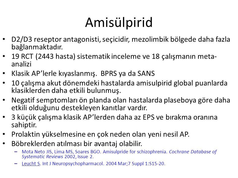 Amisülpirid D2/D3 reseptor antagonisti, seçicidir, mezolimbik bölgede daha fazla bağlanmaktadır.
