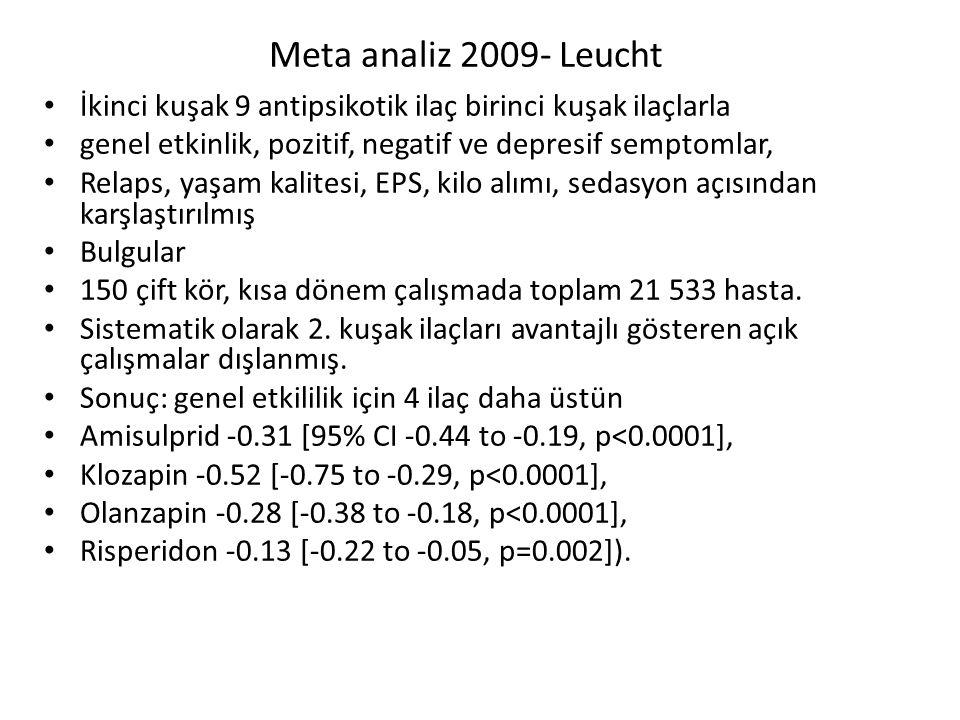 Meta analiz 2009- Leucht İkinci kuşak 9 antipsikotik ilaç birinci kuşak ilaçlarla genel etkinlik, pozitif, negatif ve depresif semptomlar, Relaps, yaşam kalitesi, EPS, kilo alımı, sedasyon açısından karşlaştırılmış Bulgular 150 çift kör, kısa dönem çalışmada toplam 21 533 hasta.