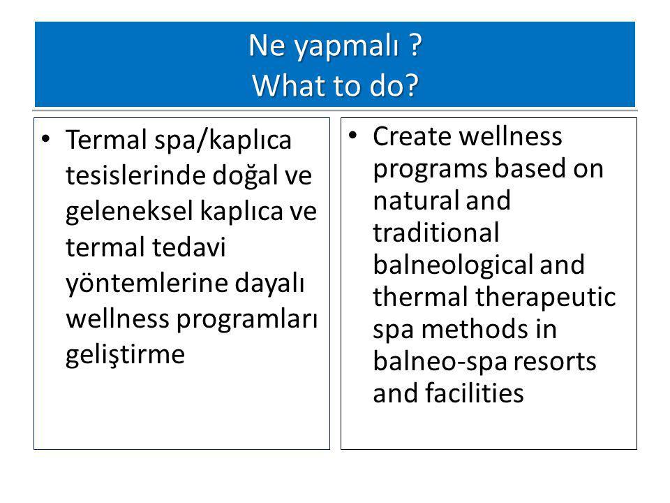 Ne yapmalı ? What to do? Termal spa/kaplıca tesislerinde doğal ve geleneksel kaplıca ve termal tedavi yöntemlerine dayalı wellness programları gelişti