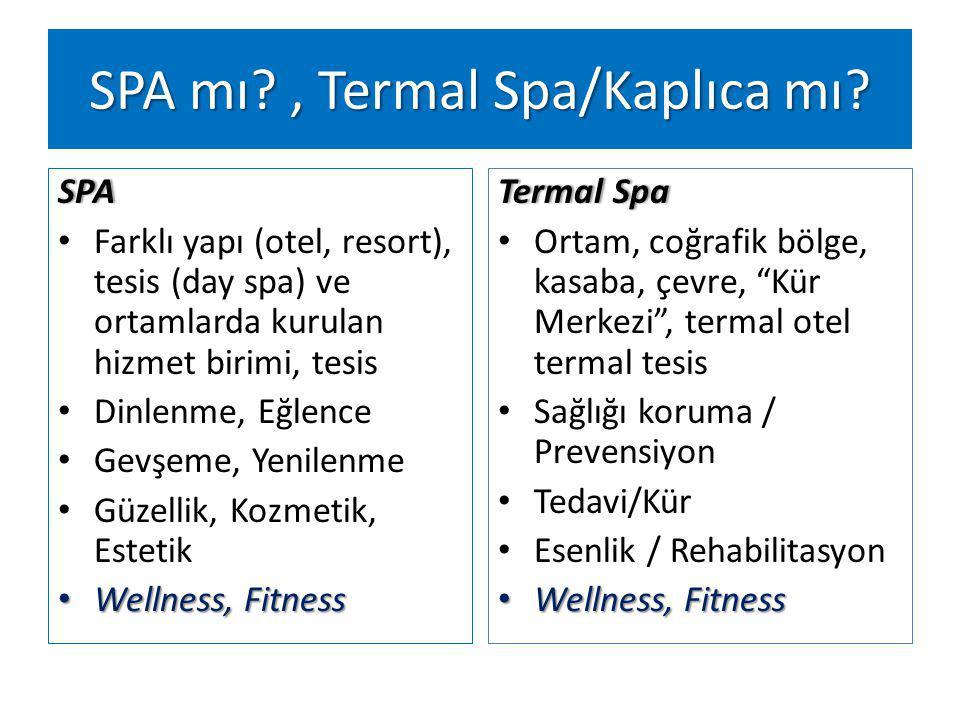SPA Farklı yapı (otel, resort), tesis (day spa) ve ortamlarda kurulan hizmet birimi, tesis Dinlenme, Eğlence Gevşeme, Yenilenme Güzellik, Kozmetik, Estetik Wellness, Fitness Wellness, Fitness Termal SpaTermal Spa Ortam, coğrafik bölge, kasaba, çevre, Kür Merkezi , termal otel termal tesis Sağlığı koruma / Prevensiyon Tedavi/Kür Esenlik / Rehabilitasyon Wellness, Fitness Wellness, Fitness