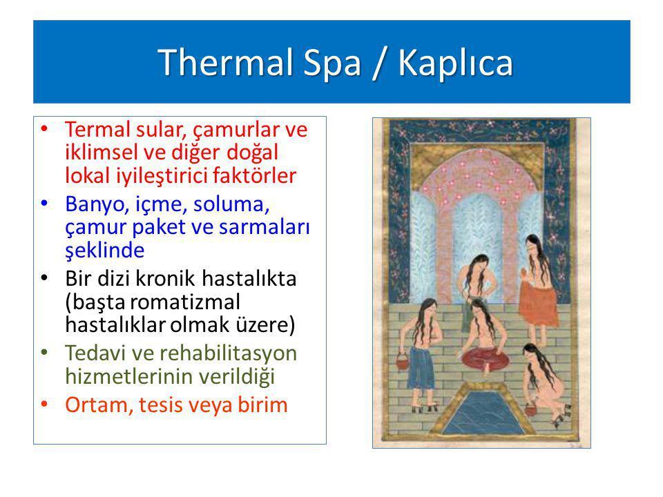 Thermal Spa / Kaplıca Thermal Spa / Kaplıca Termal sular, çamurlar ve iklimsel ve diğer doğal lokal iyileştirici faktörler Banyo, içme, soluma, çamur