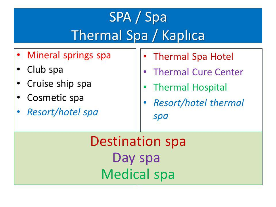 Source : Standford Research Institute, Global Spa Summit, Istanbul, May 2010 Thermal Spa